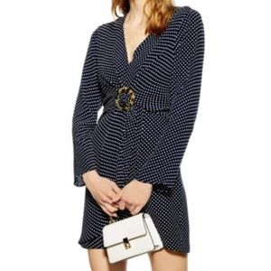 Topshop Navy Polka Dot Mini Dress Sz 6